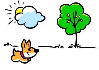 Minimalism illustration dog walk nature joy cartoon meadow tree sunny day
