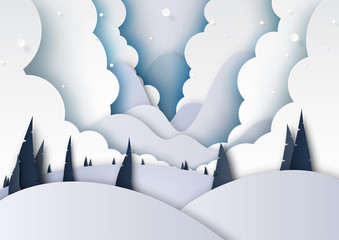 Winter season landscape with snow,clouds,pine forest and mountains for merry christmas and happy new year background paper art style.Vector illustration.
