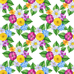 Seamless pattern with colorful flowers on white background. Watercolor hand drawn illustration. Texture for print, fabric, textile, wallpaper.
