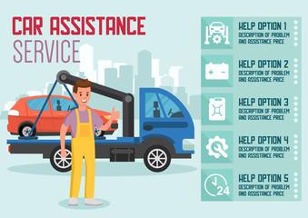Car Assistance Service. Vector Flat Illustration.