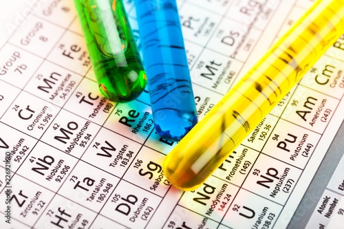 Closeup Of Test Tubes On Periodic Table Stock Photo And Royalty