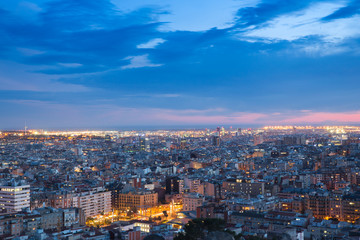 Barcelona aerial view of night city