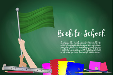 Vector flag of Libya on Black chalkboard background. Education Background with Hands Holding Up of Libya flag. Back to school with pencils, books, school items learning and childhood concept.