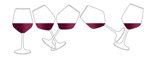 Five wine glasses containing a red wine are seen in an  illustration isolated on a white background that allows room for text.