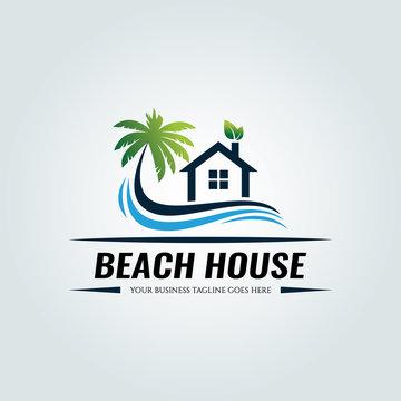 Beach house logo design template. Vector illustration