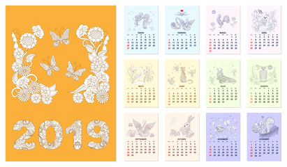 Calendar 2019 with set of zen illustrated pages 12-month Spanish