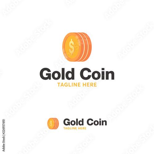 gold coin logo designs concept vector money finance logo template