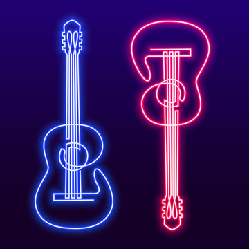 Neon pink blue light lamp continuous line drawing of acoustic guitar vector. Musical instrument single line for decoration, design, invitation jazz festival, music shop