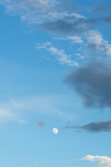 Moon background and blue sky in the daytime