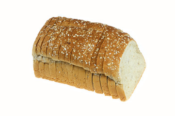 close up on whole grain sliced bread on white background