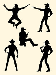 Cowgirl and cowboy silhouette. Good use for symbol, logo, web icon, mascot, sign, or any design you want.