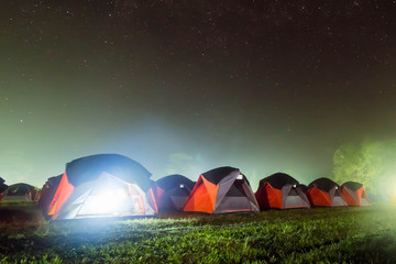 Night sky with camping.