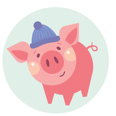 Funny piggy vector color illustration