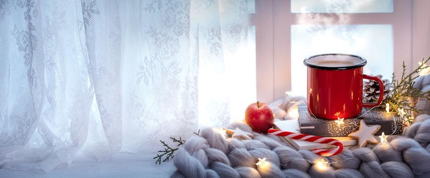 winter holiday window decoration