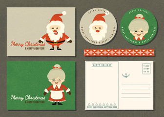 Merry Christmas and Happy new year greeting card set with cartoon character