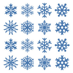 Snowflake vector icon background set blue color. Winter white christmas snow flake crystal element. Weather illustration ice collection. Xmas frost flat isolated silhouette symbol