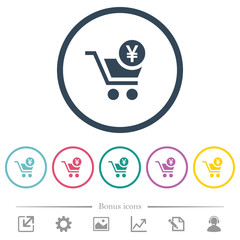 Checkout with Yen cart flat color icons in round outlines