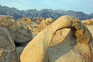 Natural arch and view at Mt Whitney, California