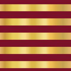 Gold foil stripes on red seamless vector pattern background. Horizontal golden line. Elegant design. Christmas, New year, wallpaper, scrap booking, banner, wedding, party invite, birthday celebration
