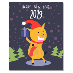 Cute piggy vector card happy Christmas banner template, poster, invitation, greeting. Year of pig.