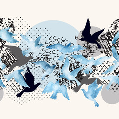 Poster Graphic Prints Artistic watercolor background: flying bird silhouettes, fluid shapes filled with minimal, grunge, doodle textures.