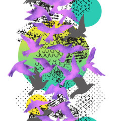 Fototapeten Grafik Druck Artistic watercolor background: flying bird silhouettes, fluid shapes filled with minimal, grunge, doodle textures.