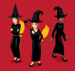Manga Modern Witches Woman with Broomstick Cartoon Poses Cartoon Vector Illustration