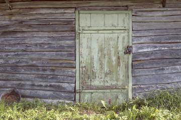 Antique wooden door in light green. Vintage background