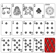 Playing cards series Zodiac Signs, club suit, jocker and back