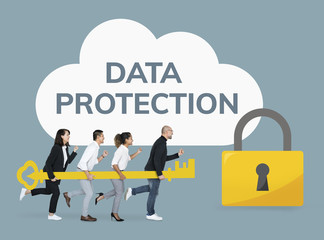 Business people showing data protection icons