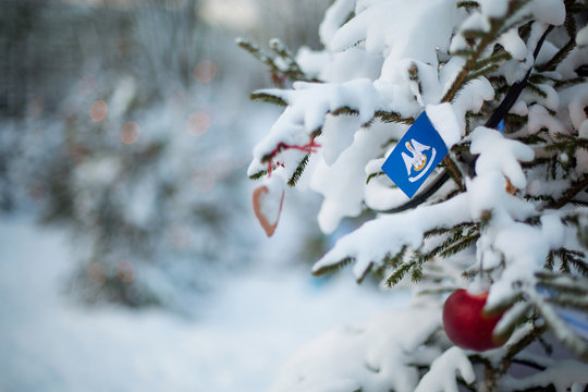 Louisiana state flag. Christmas background outdoor. Christmas tree covered with snow and decorations and Louisiana flag.  New Year / Christmas holiday greeting card.