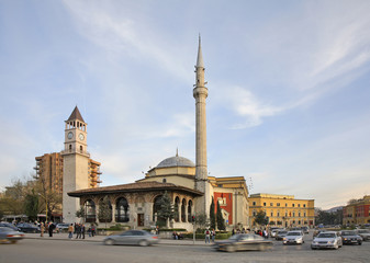 Ethem Bey mosque and clock tower  in Tirana. Albania