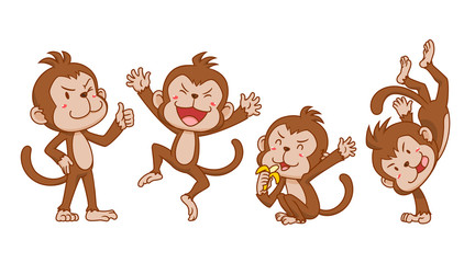 Set of cute cartoon monkeys in different poses.