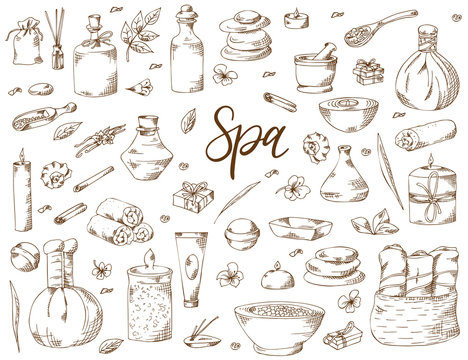 Spa treatment. Hand drawn elements on white background. Healthcare and beauty template for salon. Vector illustration