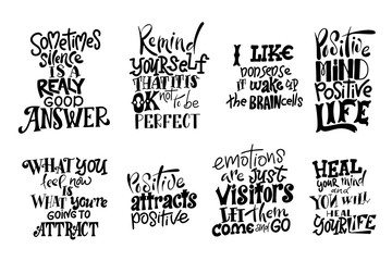Papiers peints Positive Typography Vector lettering. Meditatin motivation quotes. Hand drawn calligraphic design