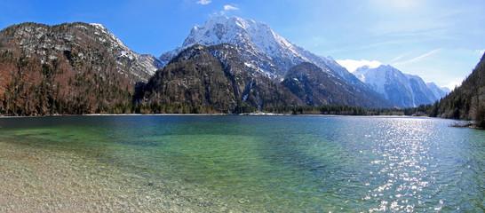 breathtaking panoramic view of Predil Lake in Italy