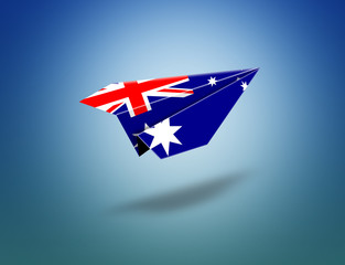 Flying paper plane origami with Australian flag.