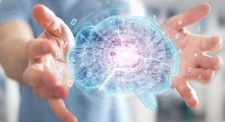 Businessman creating artificial intelligence in a digital brain 3D rendering