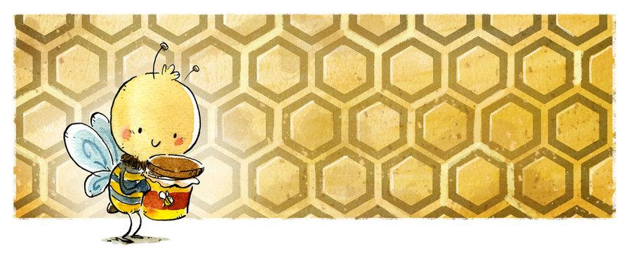 abeja en panal con tarro de miel