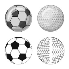 Vector design of sport and ball sign. Collection of sport and athletic vector icon for stock.