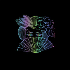 Neon illustration of a portrait of a geisha with a fan. Mysterious girl