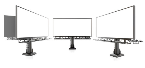 3D rendering of blank billboards (empty advertisement) isolated on white background - mock up template