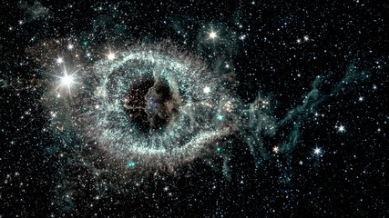 The Helix nebula, a cosmic starlet eerie resemblance to a giant eye on a background of a colorful universe, collage. Elements of this image furnished by NASA.
