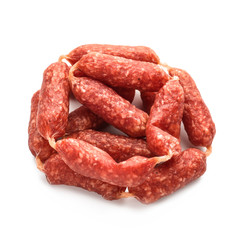 Delicious smoked sausage on white background