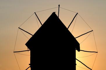 Old windmill landmark sunset Nessebar Bulgaria