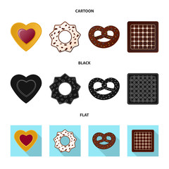 Isolated object of biscuit and bake logo. Collection of biscuit and chocolate vector icon for stock.
