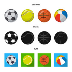 Vector illustration of sport and ball symbol. Set of sport and athletic vector icon for stock.