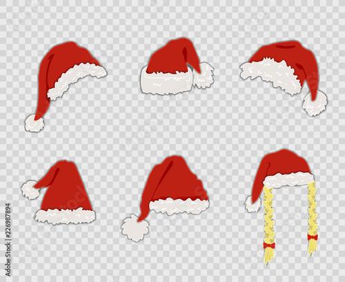 Christmas Hat Cartoon Transparent.Vector Cartoon Santa Hats Set Isolated On Transparent