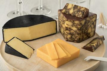 Cheese board wirh  Irish Cahills porter cheese, Irisch cheddar and waxed farmhouse cheddar