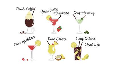 Alcoholic cocktails set, Irish coffee, Strawberry margarita, Dry martini, Cosmopolitan, Pina colada, Long island, Iced tea vector Illustration